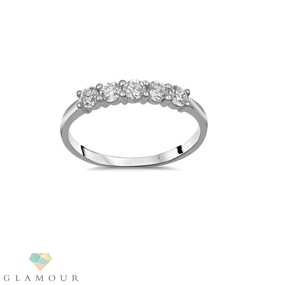 Five Stone Diamond Ring This Stylish ring features five round brilliant cut diamonds set in shared prongs. Made from 18ct white gold. This ring is the Ideal for wedding or anniversary ring.