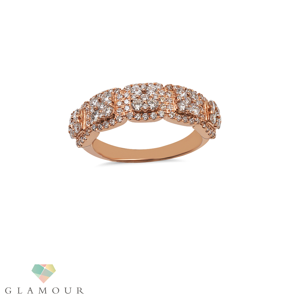 Pave Diamond Ring A stunning Masterpiece created with 18 k Rose gold and round cut Diamonds. A diamond ring to adore for. Made in pave setting this ring is Ideal for all occasions like Wedding, Engagement, Anniversary or if you want to gift it to someone on their birthday.