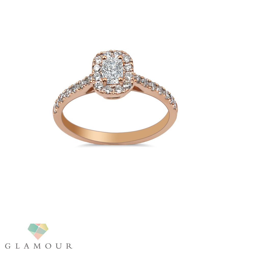 Oval Diamond Halo Ring Cautiously handcrafted, this exceptional engagement ring is crafted from 18k Rose Gold featuring oval diamond in a 4 prong setting surrounded with round cut diamonds.